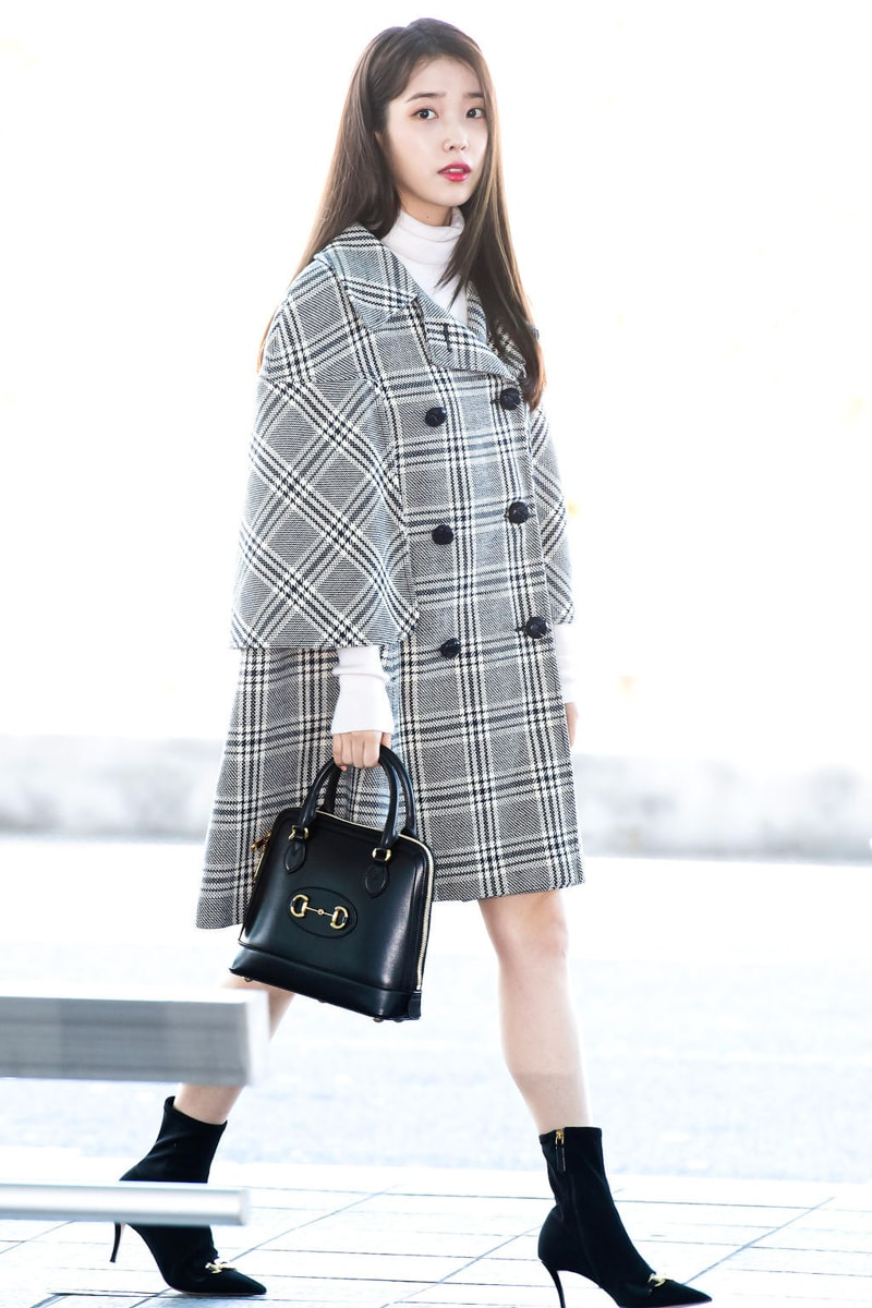 ic: Still of IU's outfit at Incheon International Airport on February 18th 2020